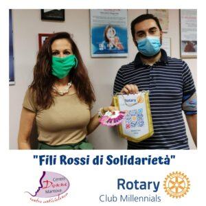 Claudia Forini, presidente della coop. sociale onlus Centro Donne Mantova con Giovanni Votta, presidente del Rotary eClub Millenials